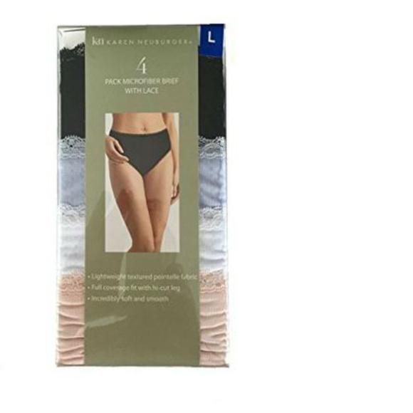 Karen Neuburger Womens Hi-Cut Underwear With Lace 4 Pack Panty Size S